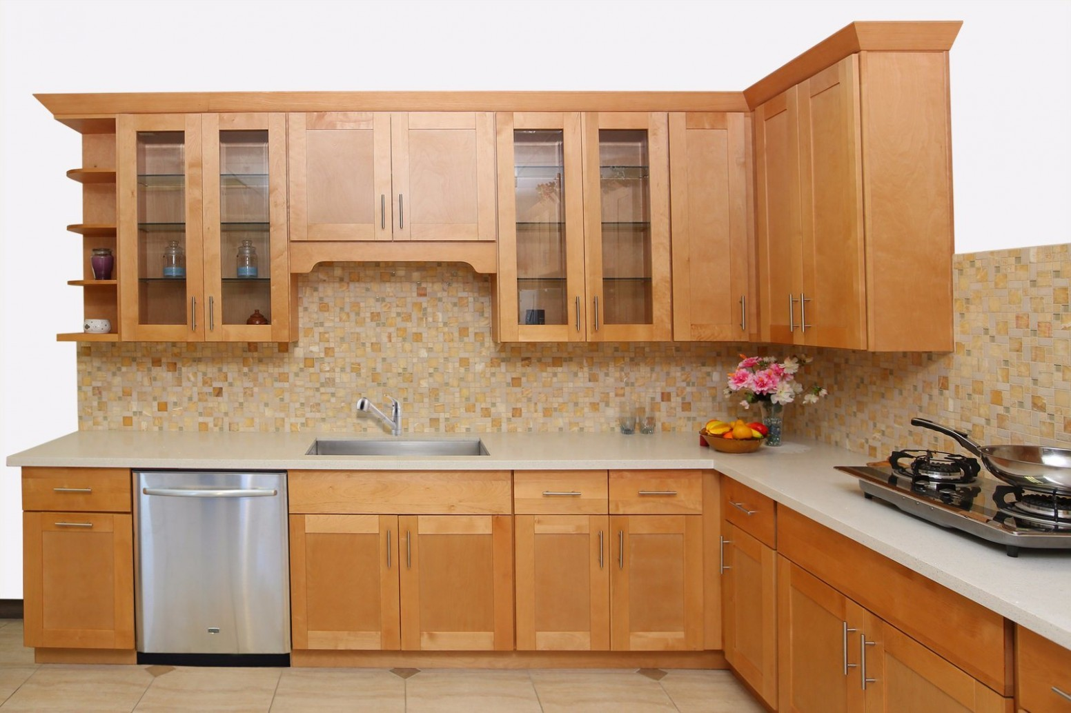[Hot Item] Red Oak Solid Wood Shaker Kitchen Cupboard Furniture From China  Factory - Red Shaker Kitchen Cabinets