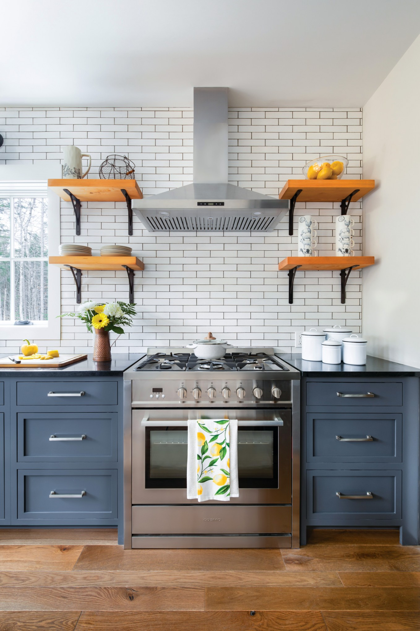 How to Choose Your Cabinet Style - American Farmhouse Lifestyle - Yellow Kitchen With Blue Cabinets