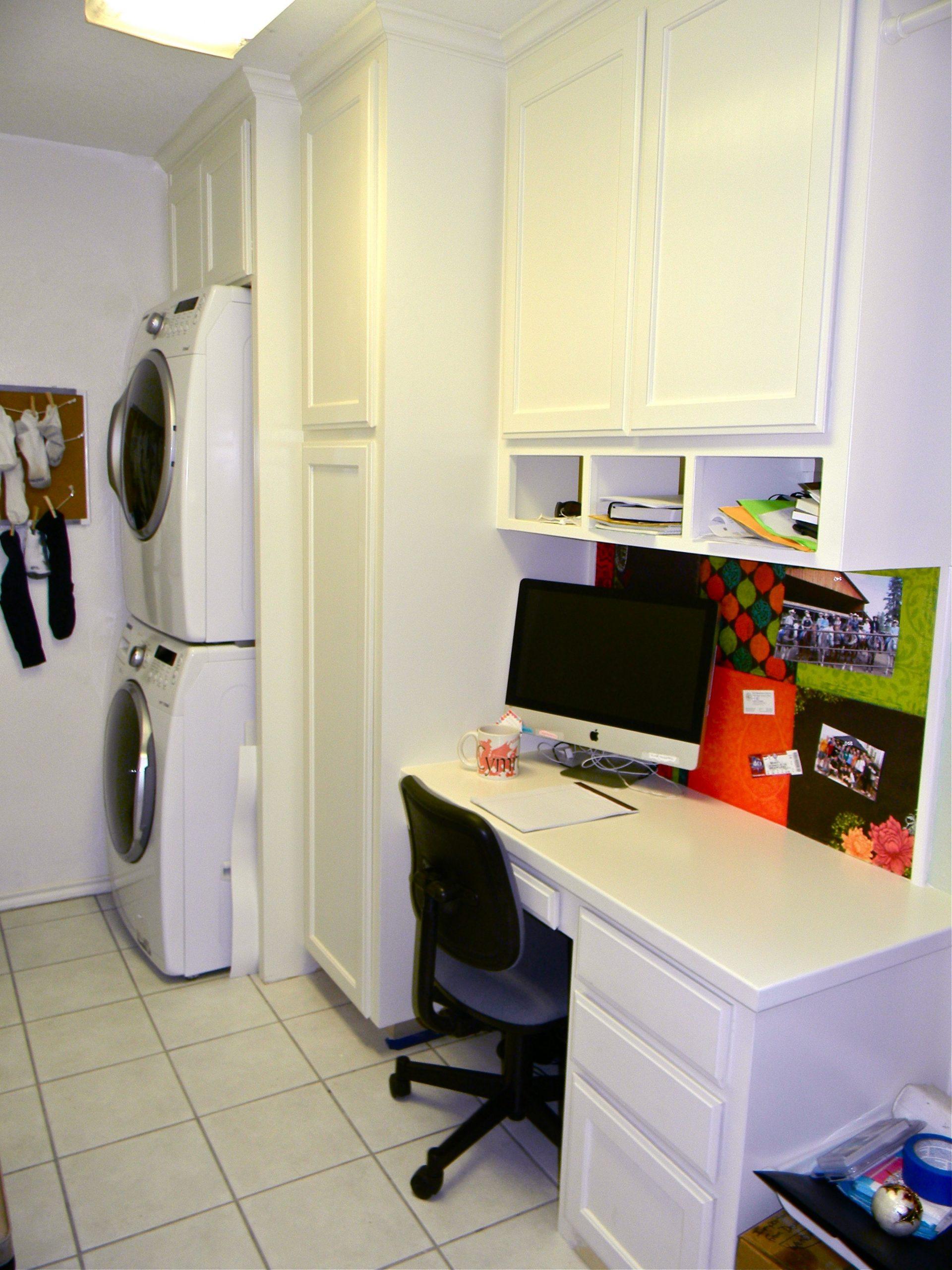 I converted my laundry room into a laundry room/office with built  - Laundry Room Office Ideas