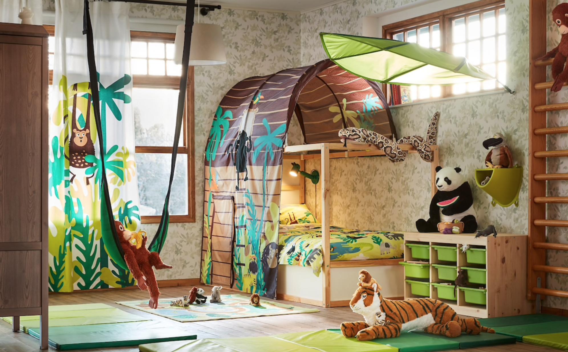 Ikea jungle inspired room idea for kids #Kidsroomideas  Jungle  - Childrens Bedroom Ideas Jungle