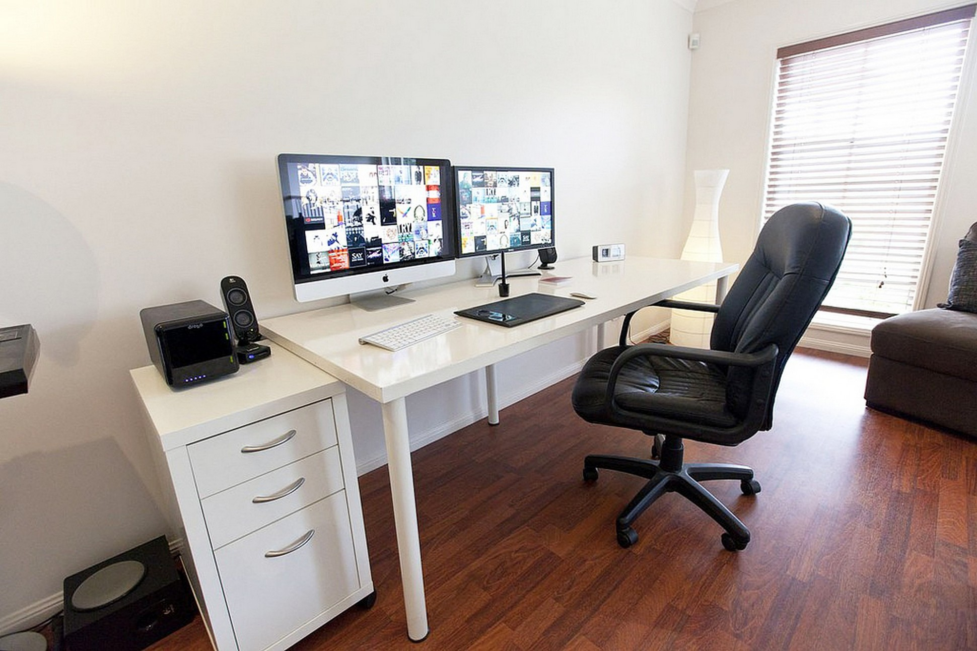 IKEA LINNMON ADILS Computer Desk setup with Drawer for Dual  - Home Office Ideas Dual Monitor