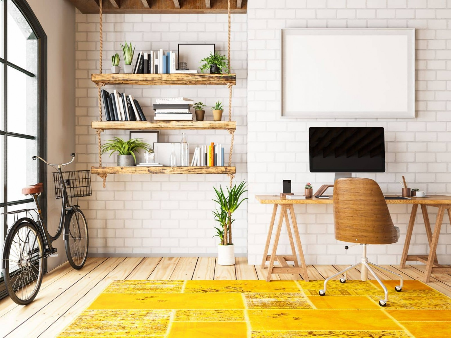 Inspiring Home Office Designs to Motivate You as You Work From  - Yellow Home Office Decorating Ideas
