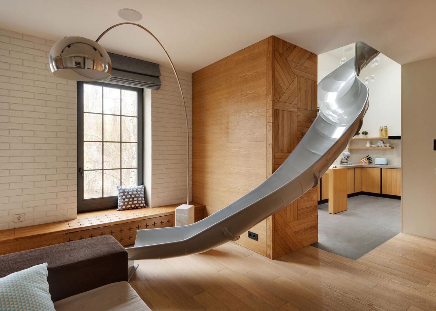 Inspiring Modern Duplex Apartment In Ukraine With A Slide  - Apartment Duplex Design