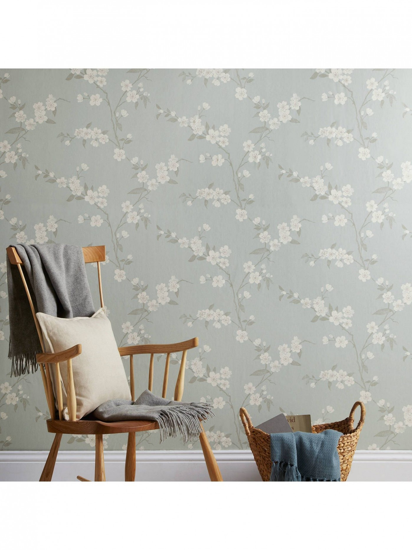 John Lewis & Partners Cherry Blossom Wallpaper, Eau De Nil  - Bedroom Wallpaper Ideas John Lewis