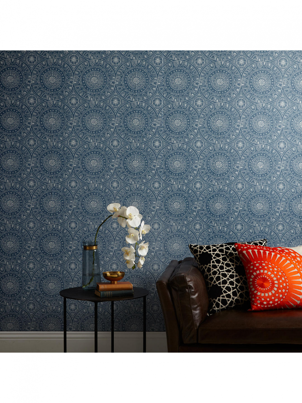 John Lewis & Partners Persia Wallpaper, Indian Blue  Wallpaper  - Bedroom Wallpaper Ideas John Lewis