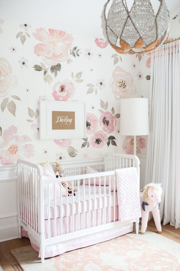 Jolie Wallpaper Mural  Girl nursery room, Baby nursery  - Baby Room Wallpaper Ideas