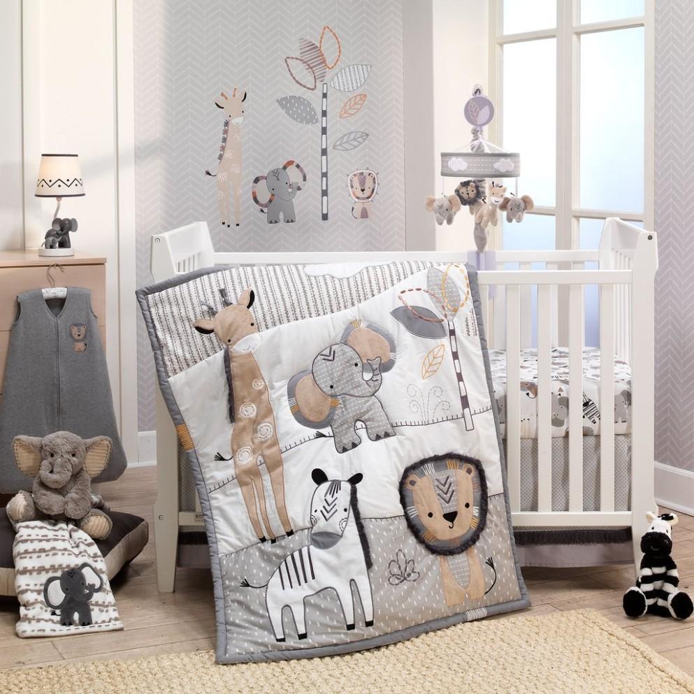 Jungle Safari Gray/Tan/White Nursery 8-Piece Baby Crib Bedding Set - Baby Room Set
