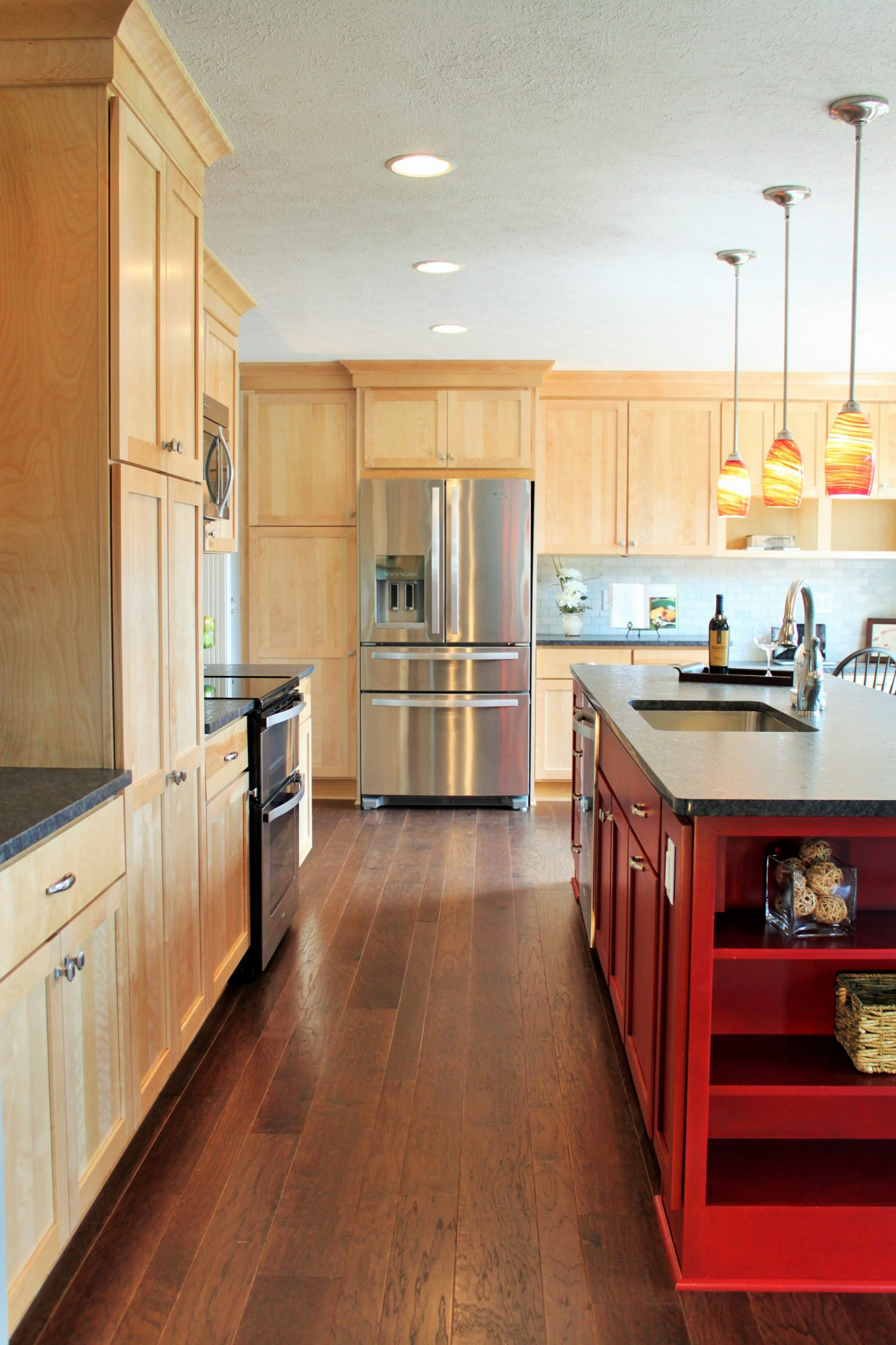 Kitchen cabinets include natural birch shaker door, and custom red  - Red Shaker Kitchen Cabinets