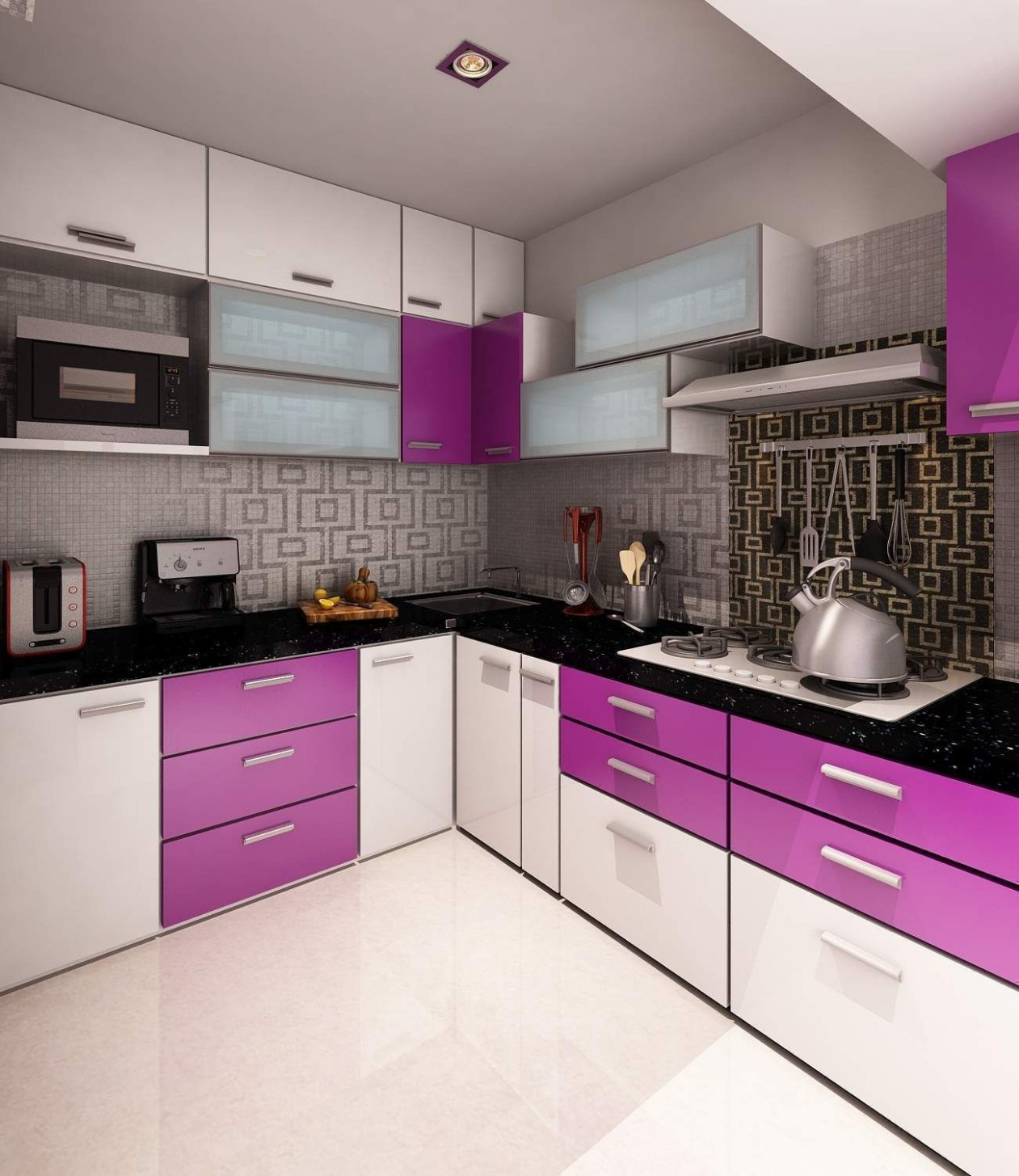 kitchen excellent simple remodel decorating ideas purple and decor  - Pink And Purple Kitchen Cabinets