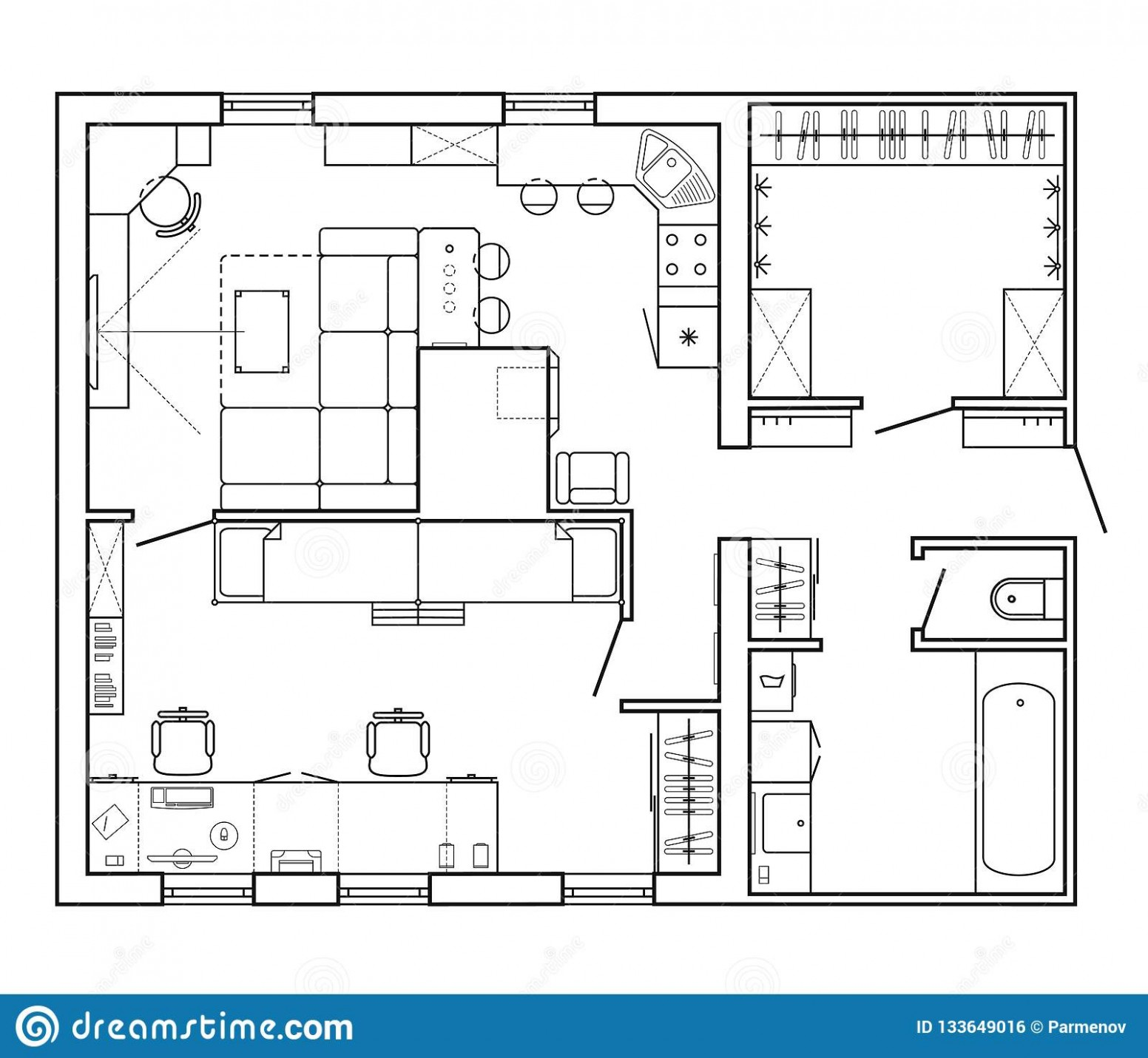 Layout Of The Apartment With The Furniture In The Drawing View  - Apartment Design Drawing
