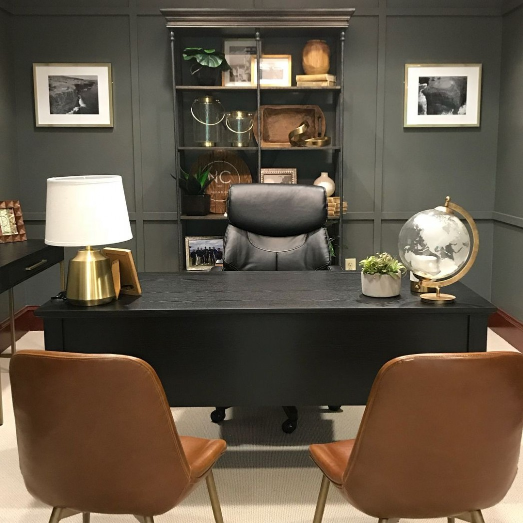 Leather & Slate  Home office design, Masculine home offices  - Home Office Ideas Male