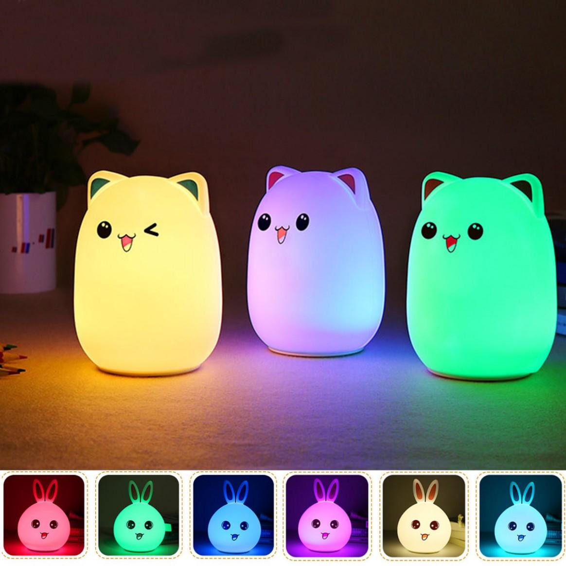 LED Small Night Light Sleeping Lamp Baby Room Rabbit Bear Light Kids Bed  Lamps Remote Control - Baby Room Night Light