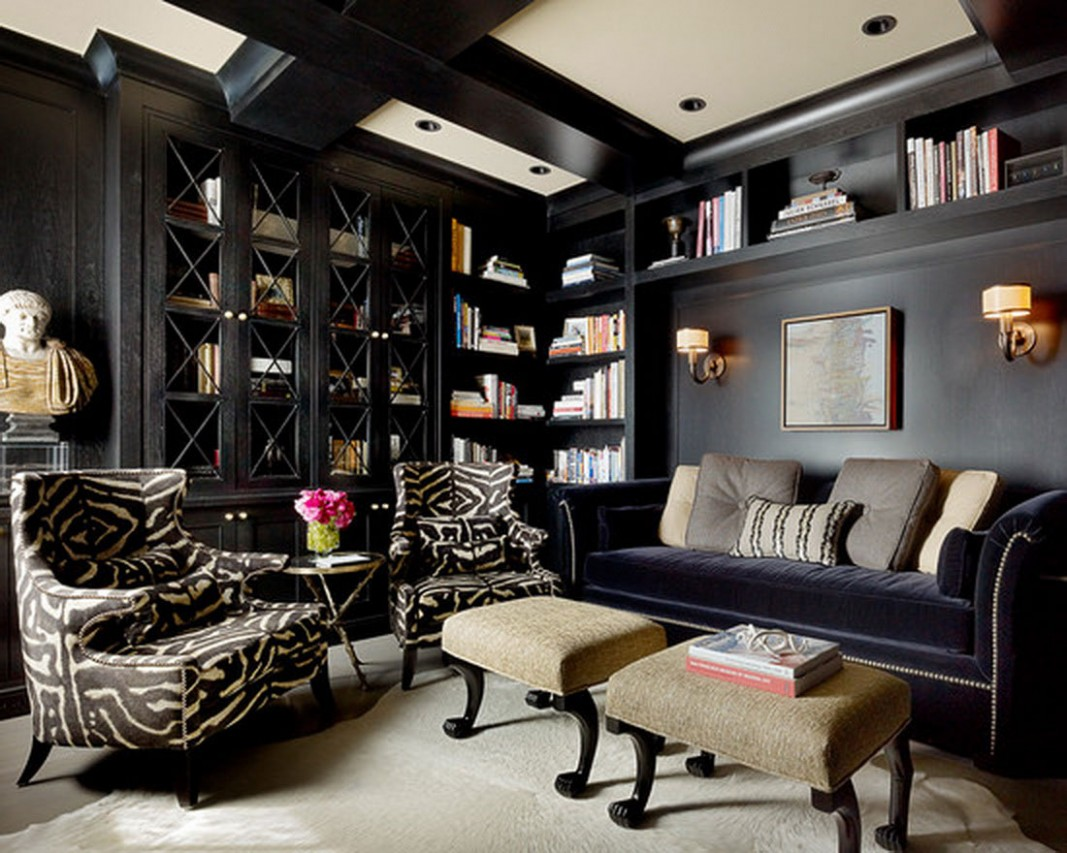Living Room Inspirational Home Office Design Black Wooden Wardrobe  - Home Office Ideas Black