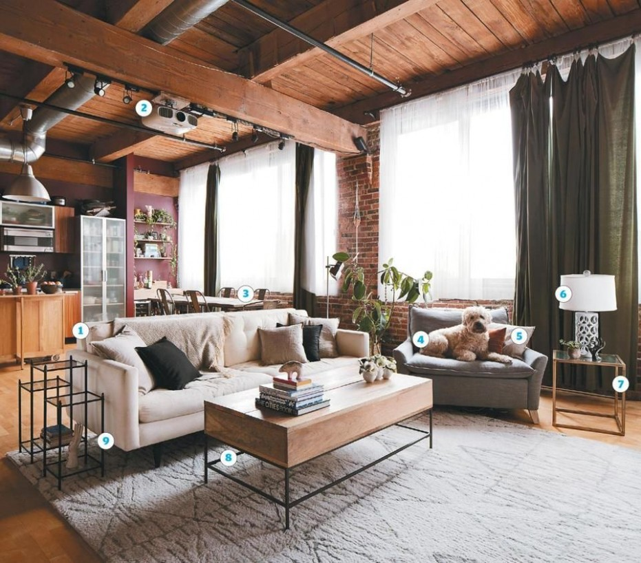 Loft living for newlyweds - The Boston Globe  Living room loft  - Loft Apartment Decor Ideas