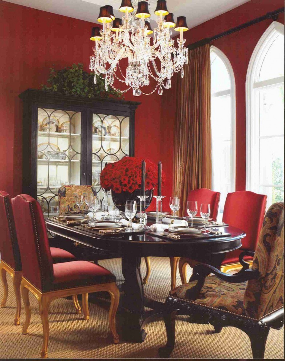 Love red in the dining room!  Esszimmer farbe, Esszimmer weiß  - Dining Room Ideas Red