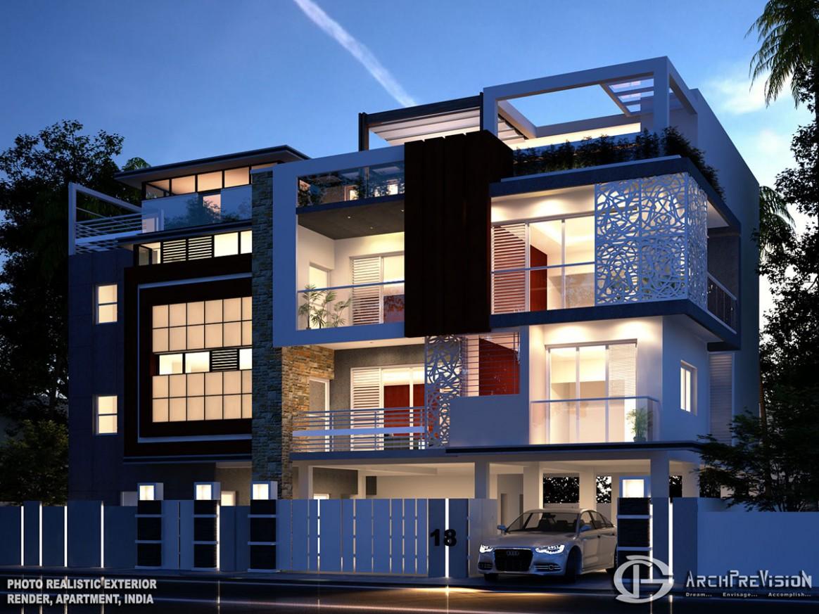 Luxury Apartment Exterior on Behance - Apartment Exterior Design India