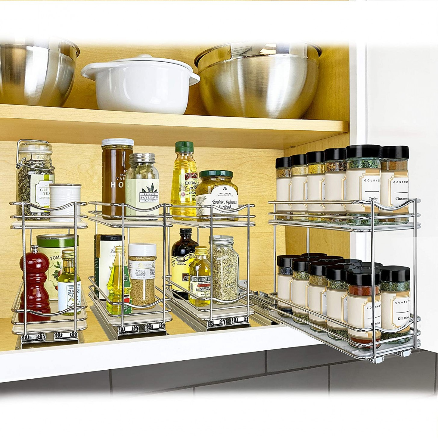 "Lynk Professional Slide Out Double Spice Rack Upper Cabinet Organizer,  9-9/9"", Chrome - 26 X10"