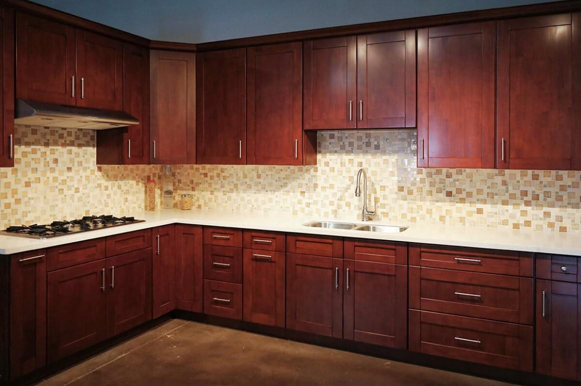 Mahogany Shaker RTA Cabinets  Cabinet City Kitchen and Bath - Red Shaker Kitchen Cabinets