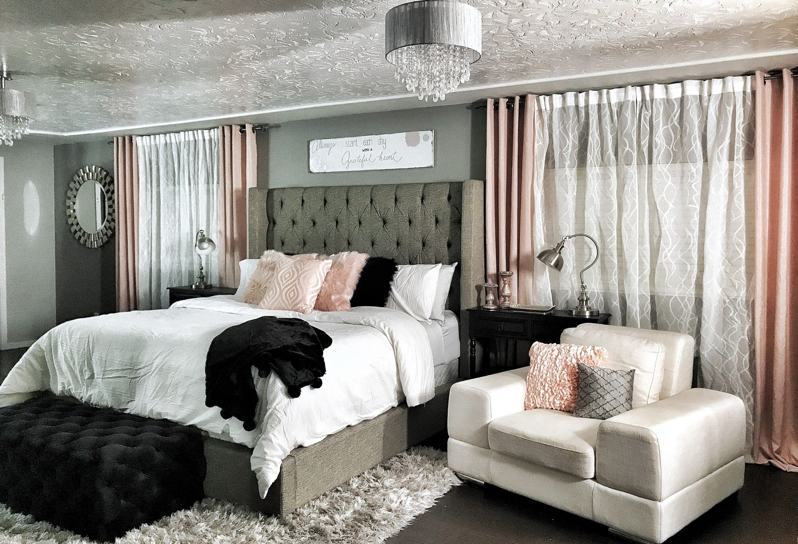 Master bedroom. Dramatic Wing back bed