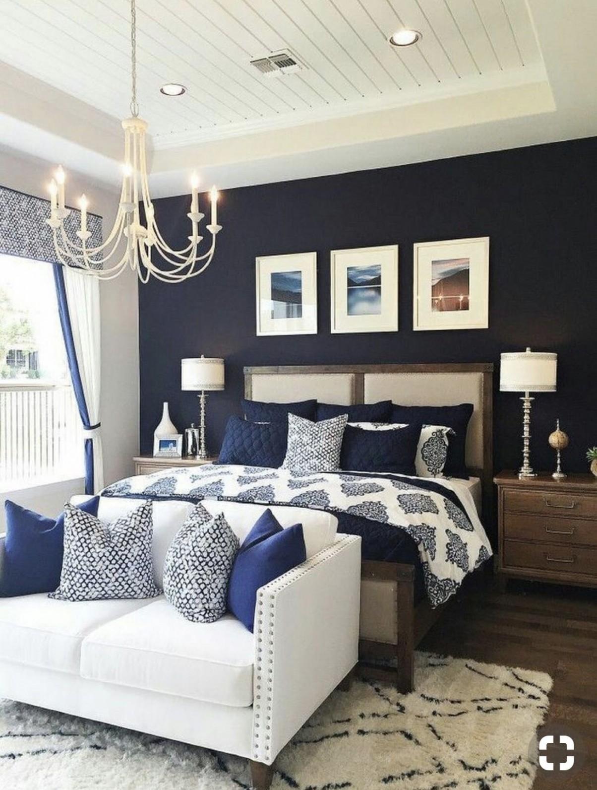 Master bedroom elegance  Small master bedroom, Master bedrooms  - Bedroom Ideas Navy And White