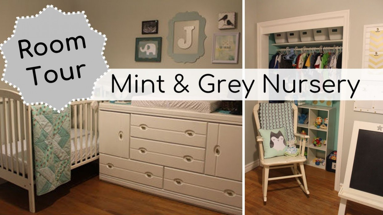 Mint & Grey DIY Nursery Tour - Baby Boy Room on a Budget - Baby Room Grey