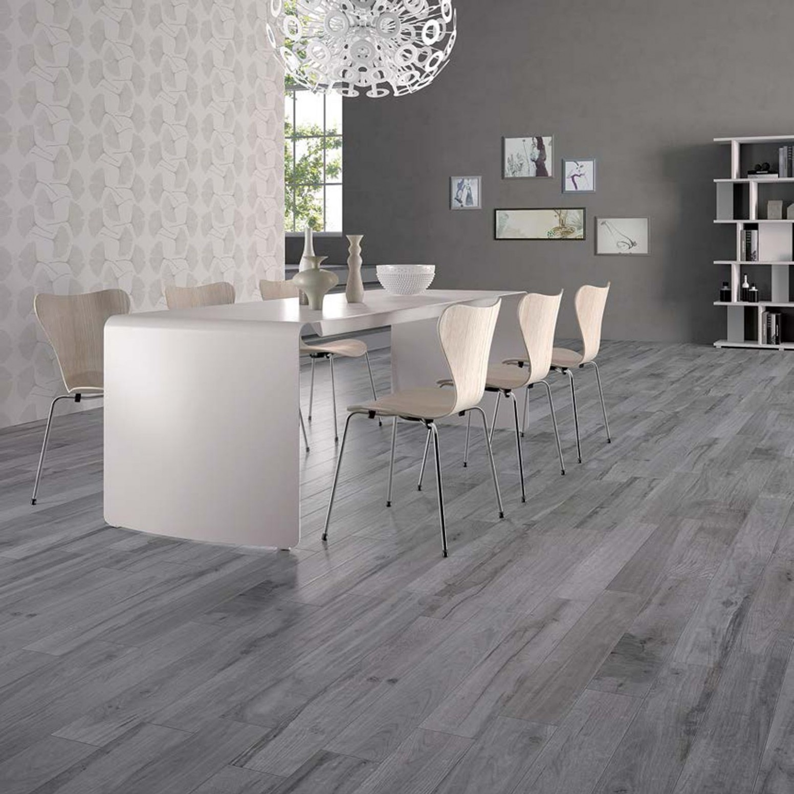 Modern dining area with tiles from Soleras collection by ABK  - Dining Room Ideas Tile Floor