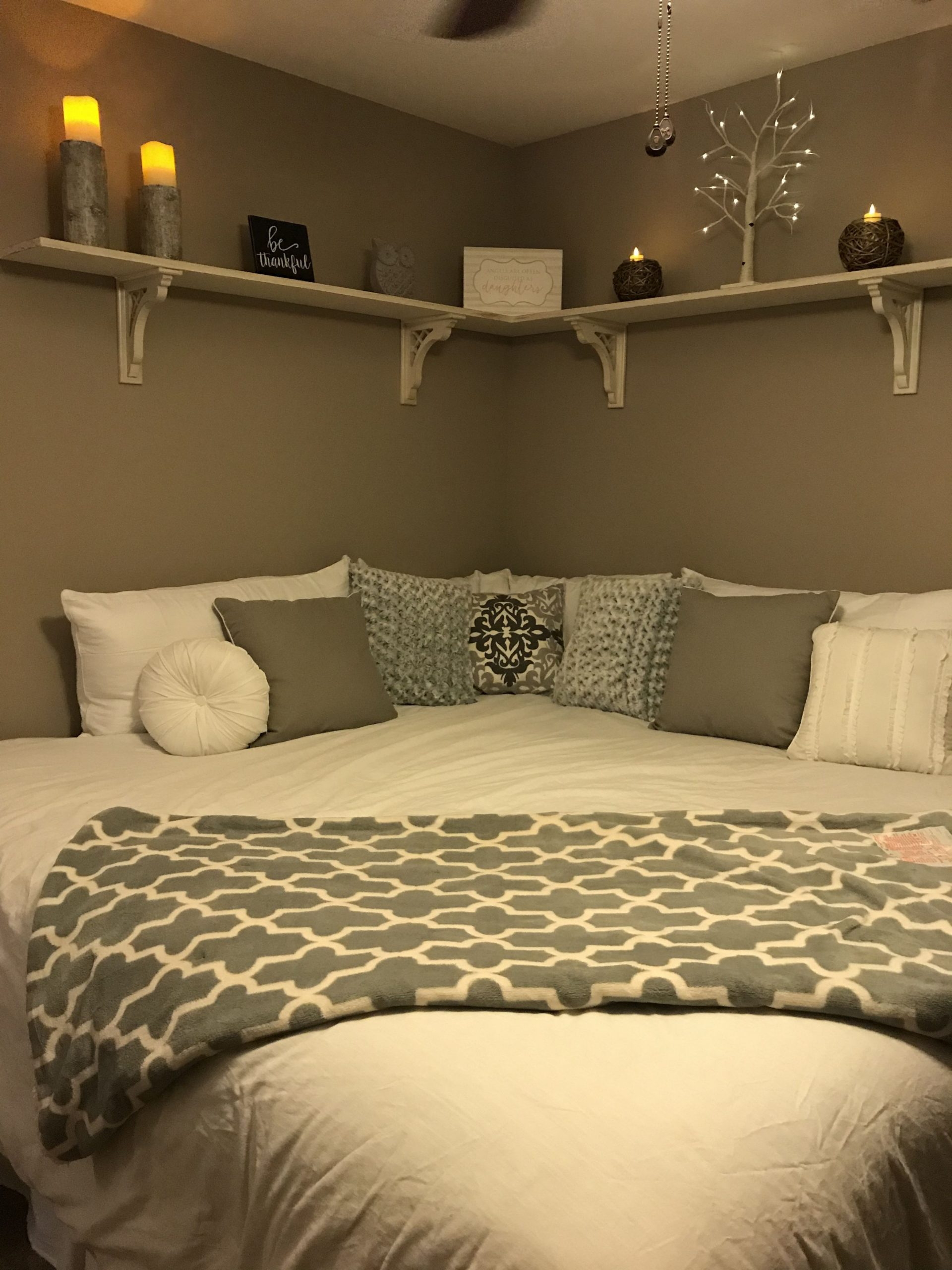 Moving bed to a corner and remove headboard and footboard  - Bedroom Ideas Without Headboard