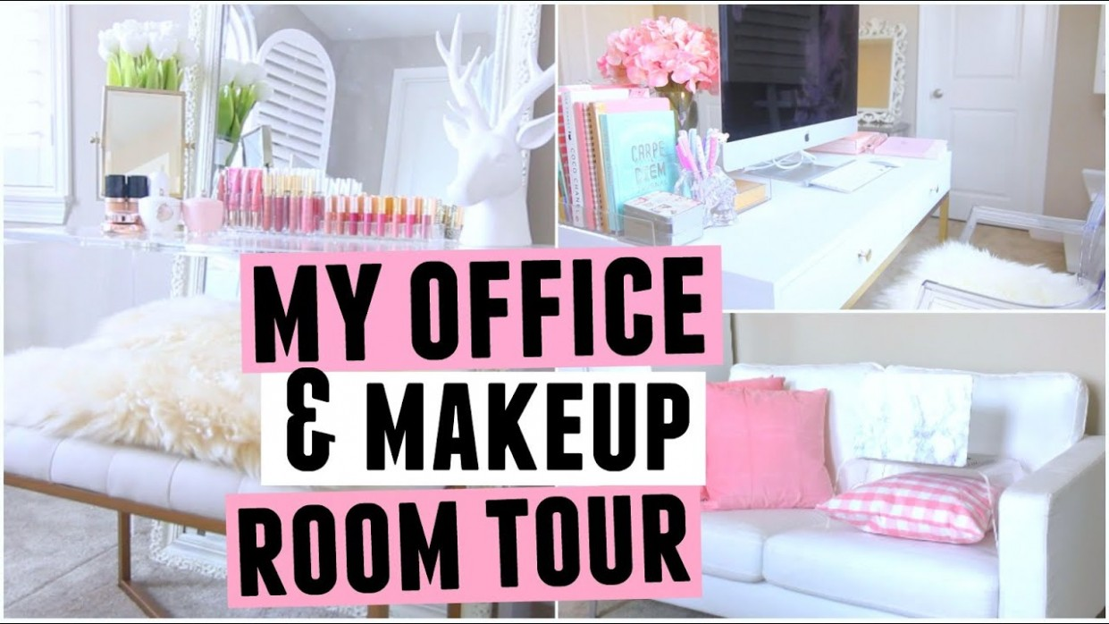 My New Office & Makeup ROOM TOUR! - Makeup Room And Home Office