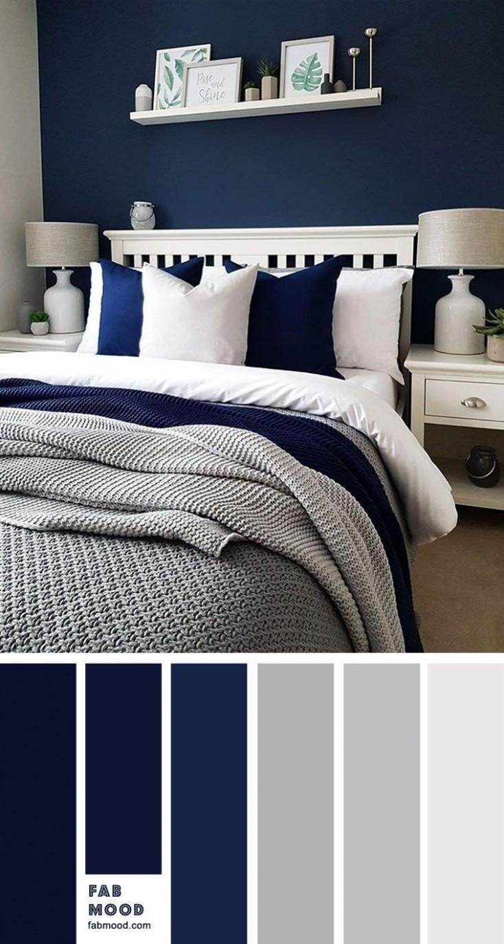 Navy blue and grey bedroom in 11  Blue bedroom walls, Blue  - Bedroom Ideas Navy And Grey