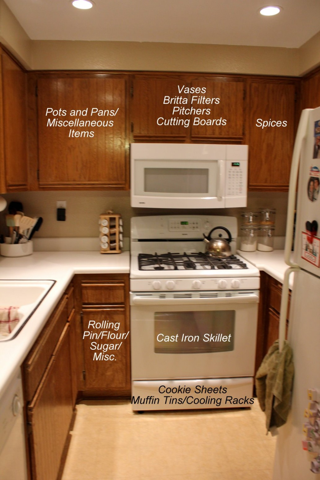 Near to Nothing: Small Kitchen Organization - How To Place Items In Kitchen Cabinets