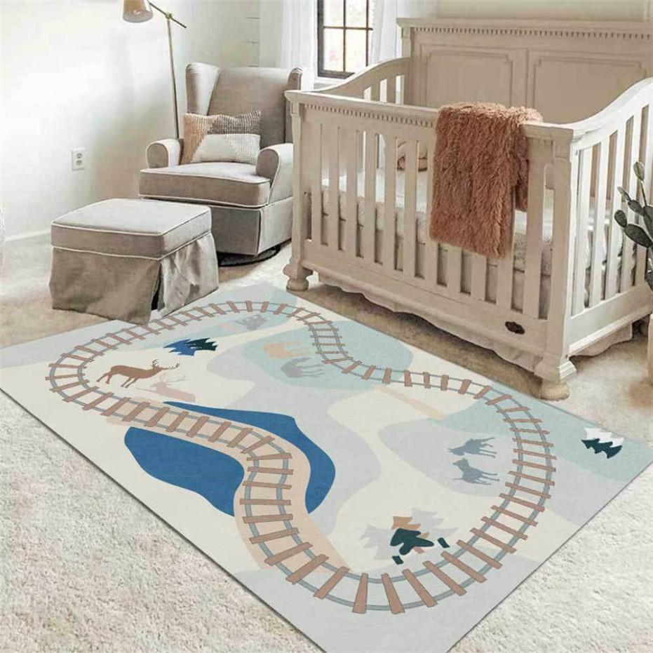 Nordic Cartoon Traffic Road Light Color Carpet Kids Room Bedside  - Baby Room Mat