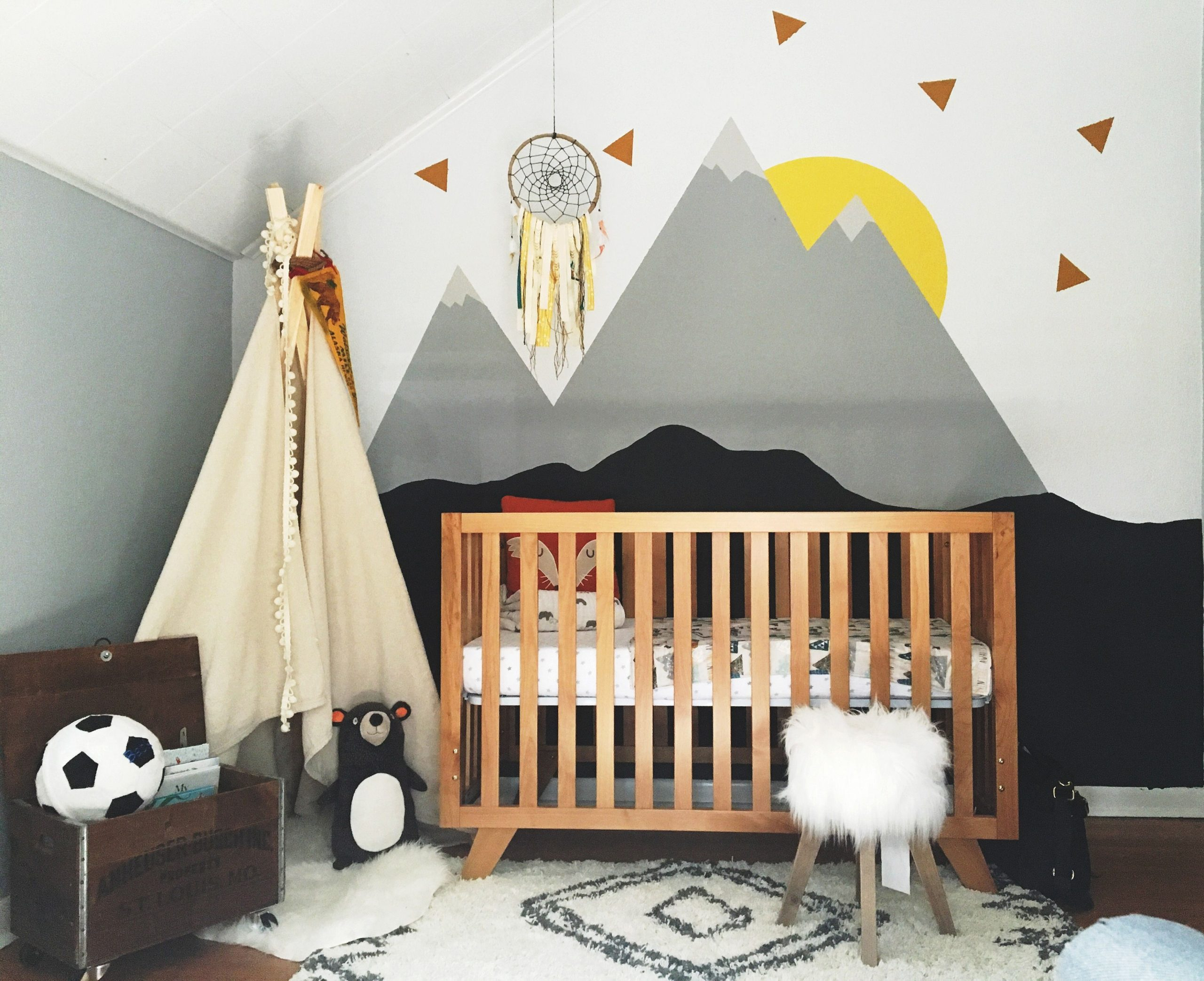 Not the nursery but the stylized mountain theme  Nursery bedroom  - Baby Room Mountain Theme