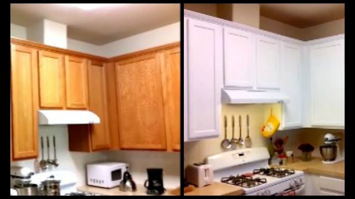 Paint Cabinets White For Less Than $10 - DIY Paint Cabinets - Youtube Painted Kitchen Cabinets