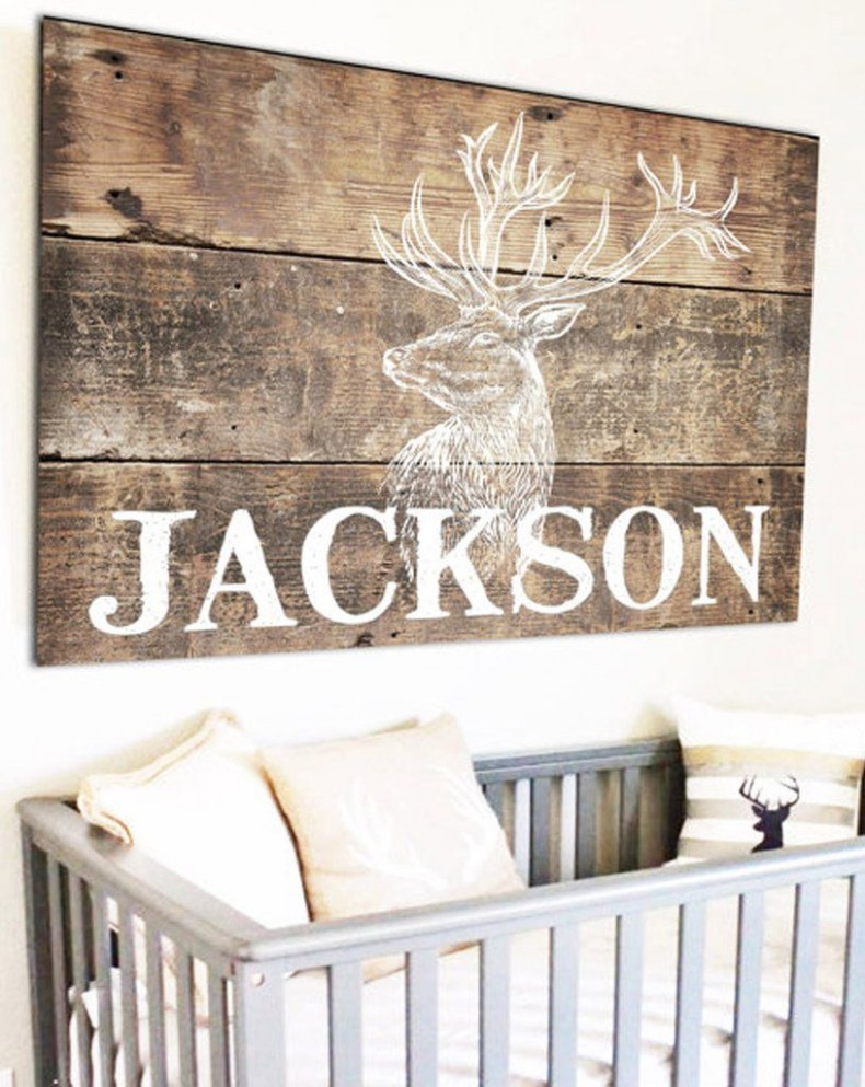 Personalized Woodland Nursery Name Sign - Kids Room Name Sign  - Baby Room Name Decor