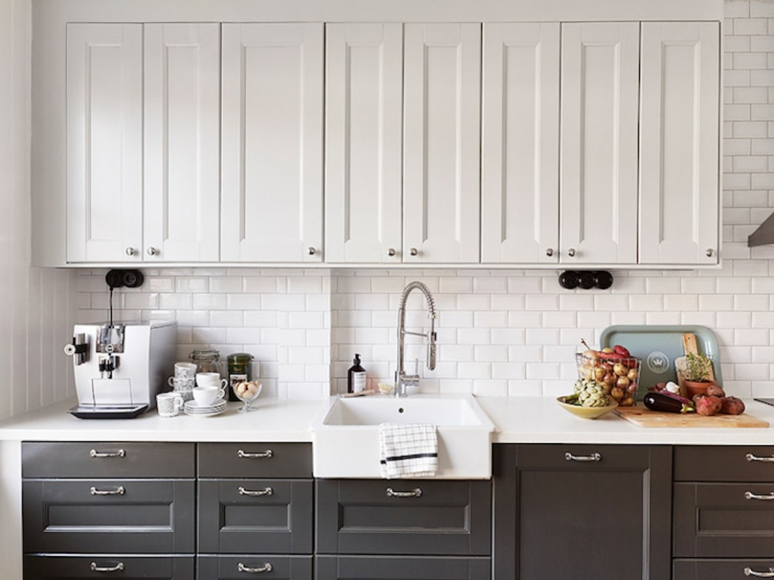 Picture of White Upper Cabinets and Black Lower Cabinets - Kitchen Designs With White Upper Cabinets And Dark Lower Cabinets