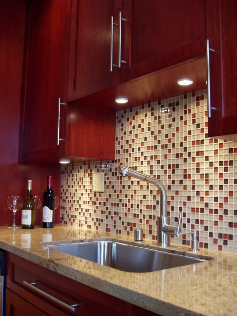 Pin by Arizona Tile on Glass & Stone  Cherry cabinets kitchen  - Backsplash For Red Kitchen Cabinets