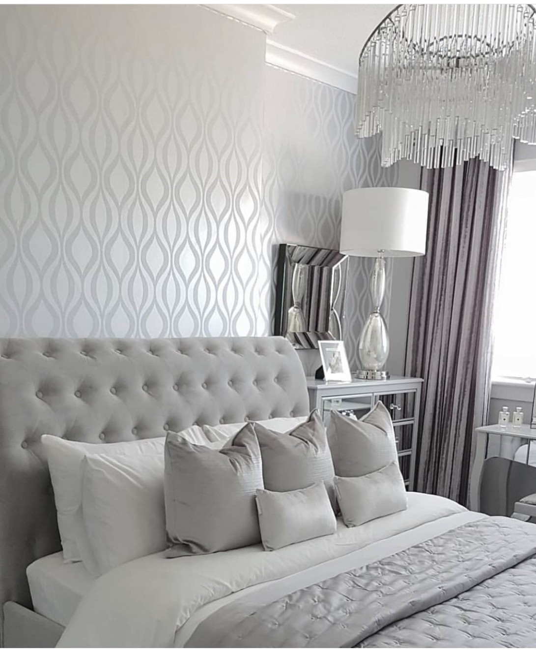 Pin by Elly on Home improvement  Silver bedroom, Silver bedroom  - Bedroom Ideas Silver