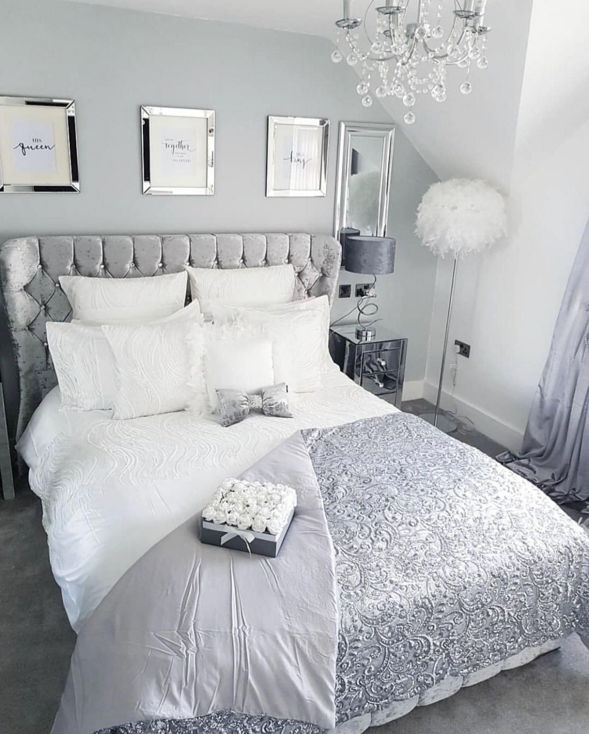 Pin by gaby novoa on Room in 8  White and silver bedroom  - Bedroom Ideas Silver