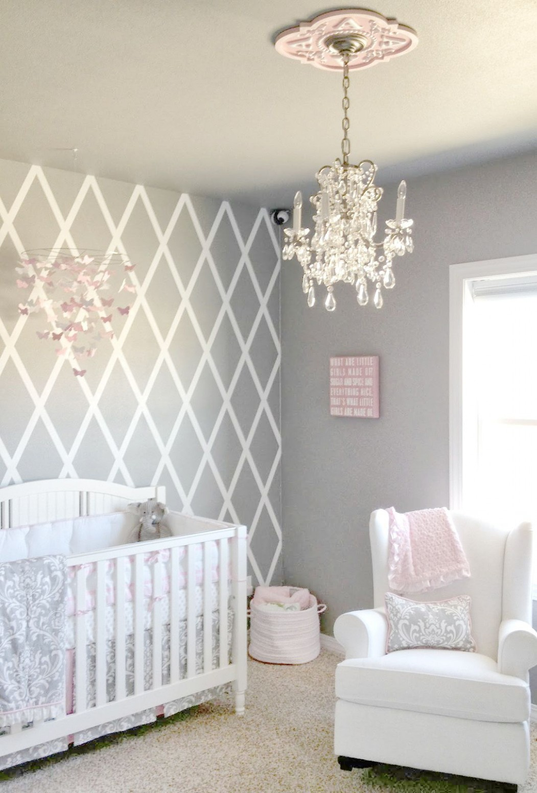 Pink and Gray Baby Bedding, Girl Baby Bedding  Baby girl room  - Baby Room Wall Ideas