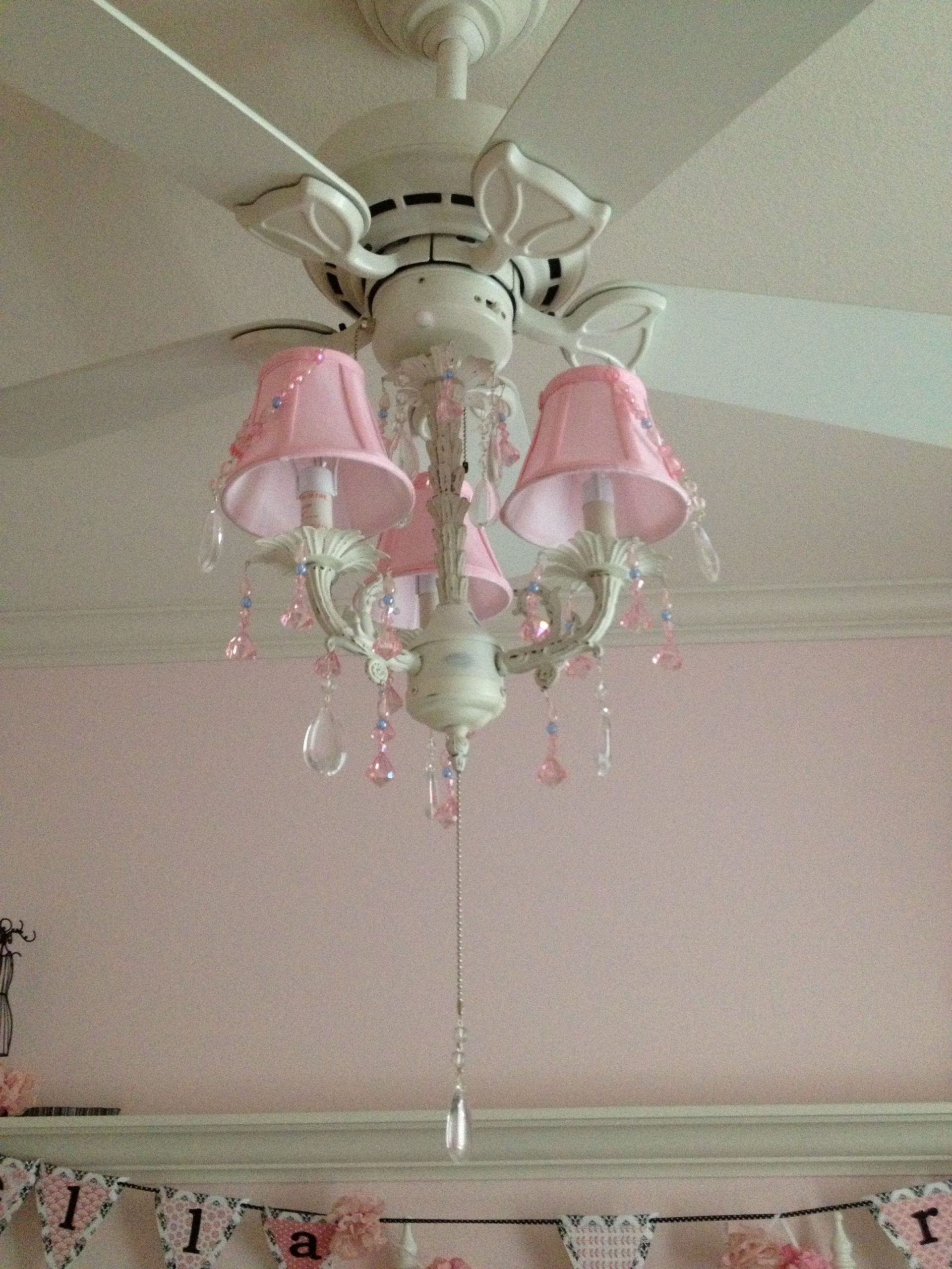 Pink Chandelier on the fan  Girls ceiling fan, Room fan  - Baby Room Ceiling Fan