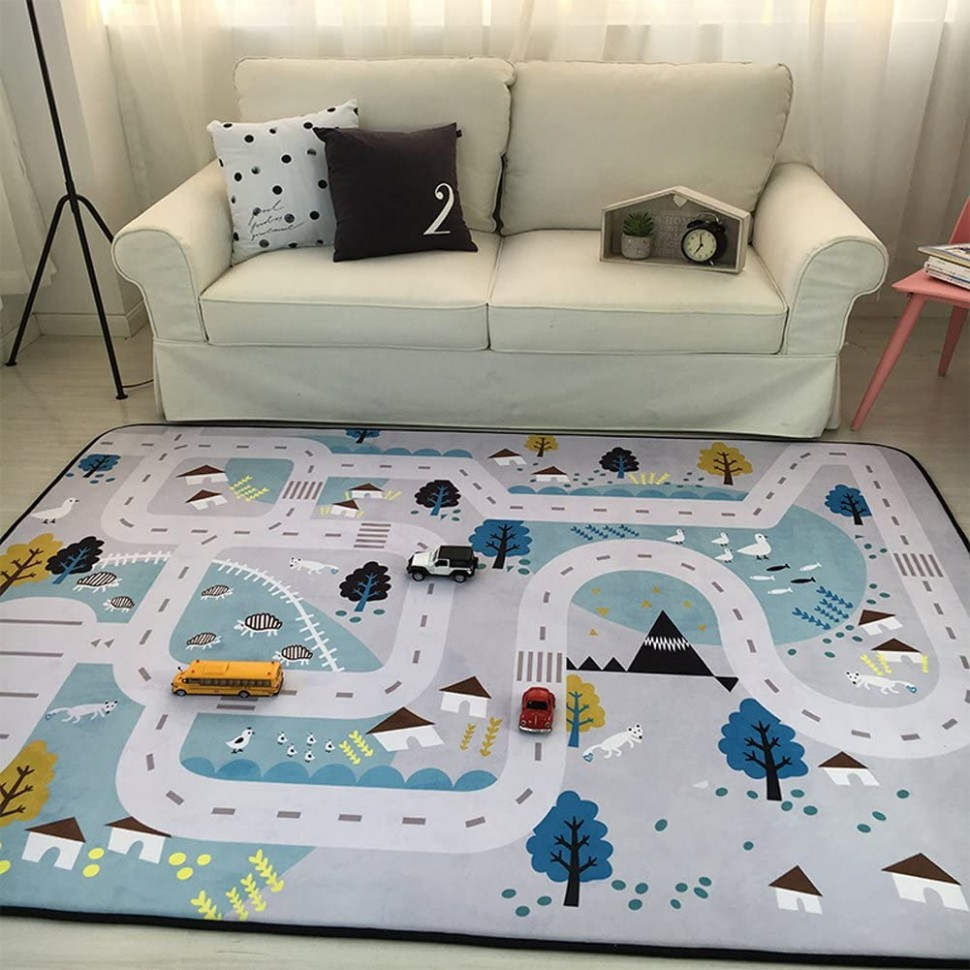 Play Mat for Baby Grey Area Rug Foam Play Mat Living Room Floor Mats Baby  Crawling Mats Climbing Pad Nursery Rug Carpet, Village, 10 by 10 Inches - Baby Room Floor Mat