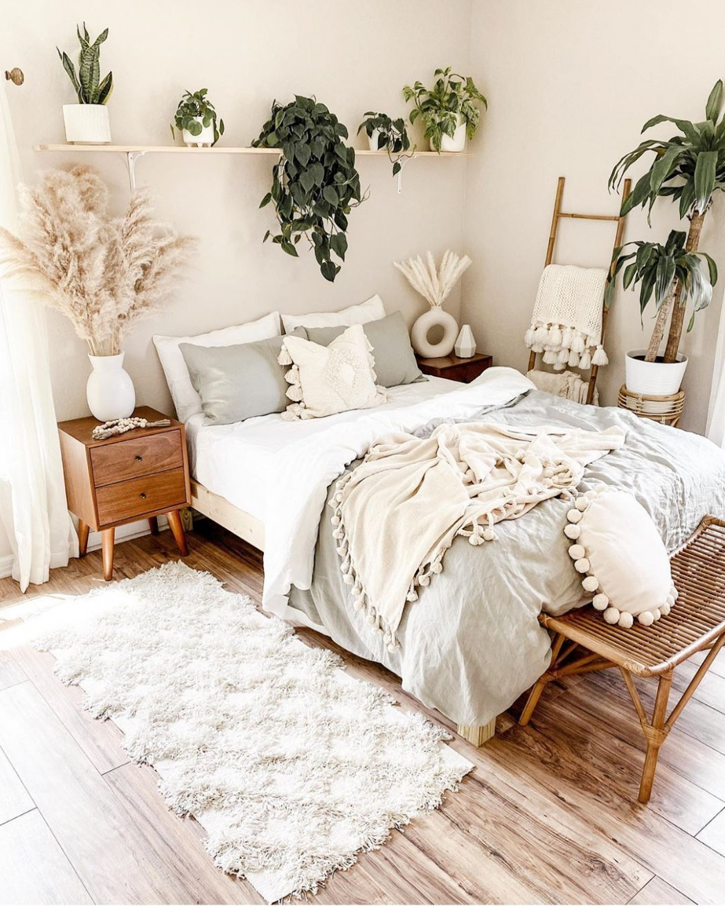 pretty bedroom looking prettier with all the plants in it  - Bedroom Ideas Plants