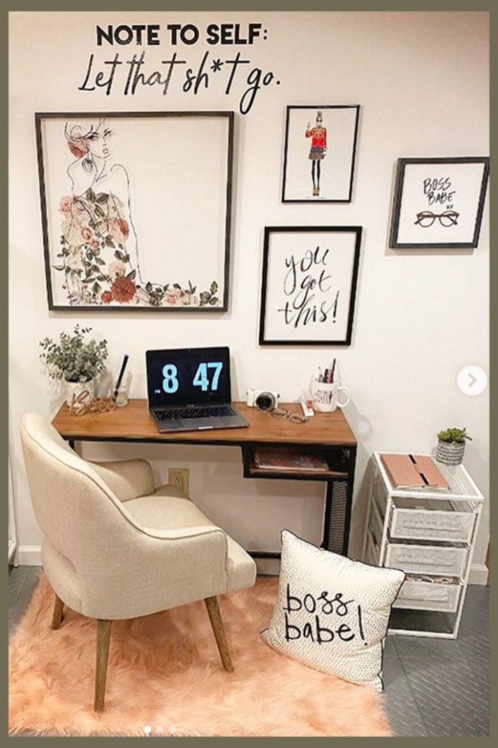 Pretty Home Office Ideas For Women - Glam Chic Home Office  - Home Office Ideas Gallery