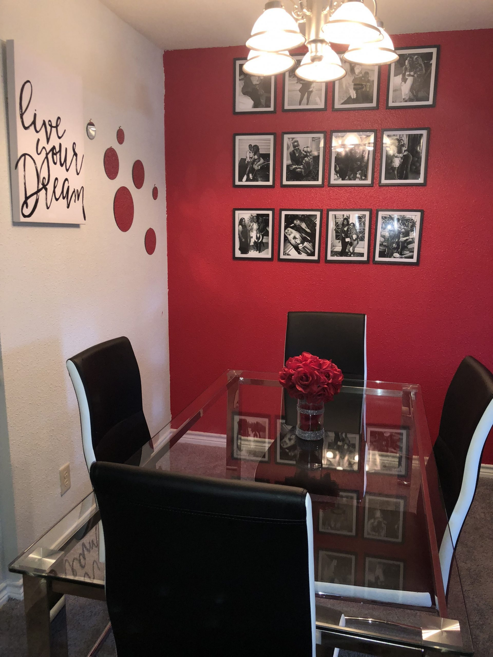 Red black and white glam dining room decor