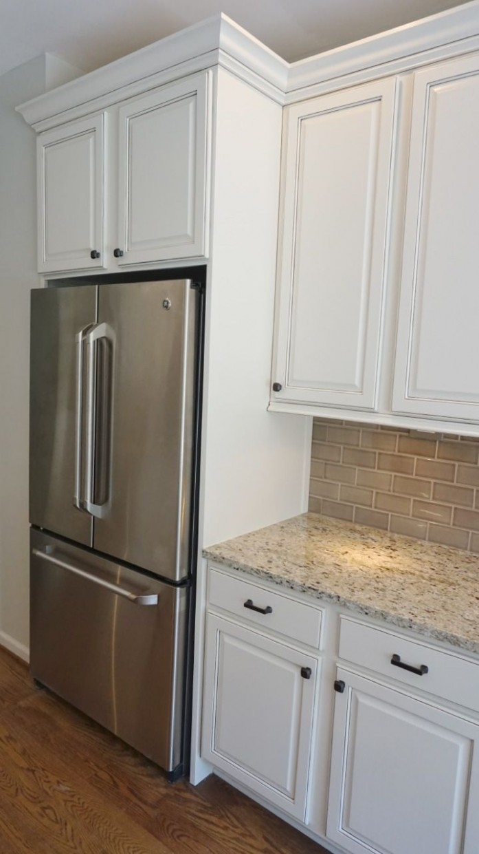 Refrigerator Enclosure to give Built In look with Glazed Cabinets  - Kitchen Fridge Cabinet