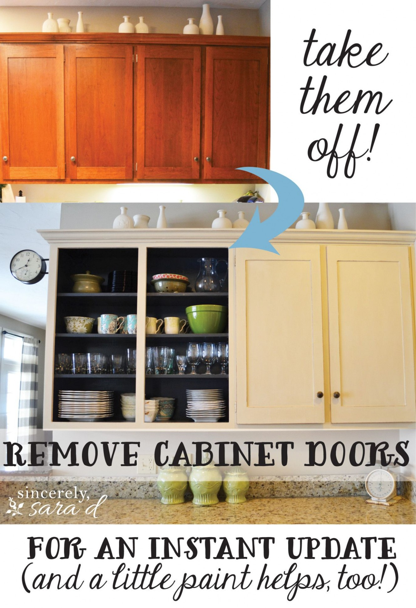 Remove Cabinet Doors - Instant Kitchen Update - Sincerely, Sara D  - Replace Just One Wall Of Kitchen Cabinets