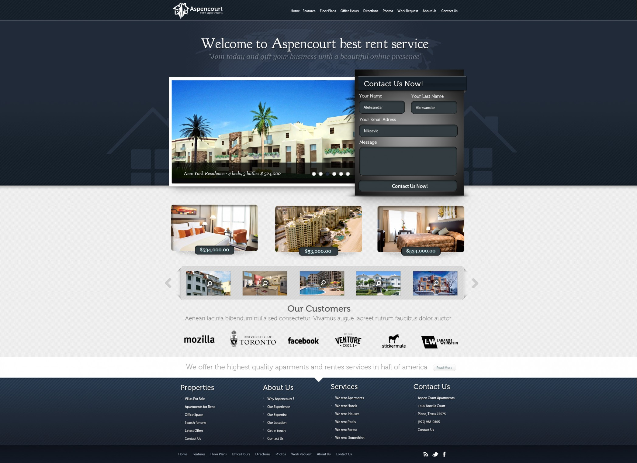 Rent Apartments Web Design by vasiligfx on DeviantArt - Apartment Website Design Inspiration