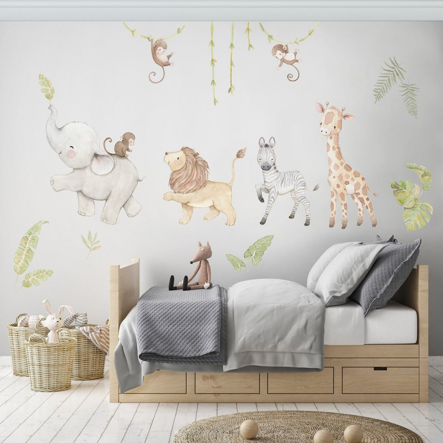 Reusable Fabric Wall Decal, SAFARI ANIMALS, Nursery wall decal  - Baby Room Stickers