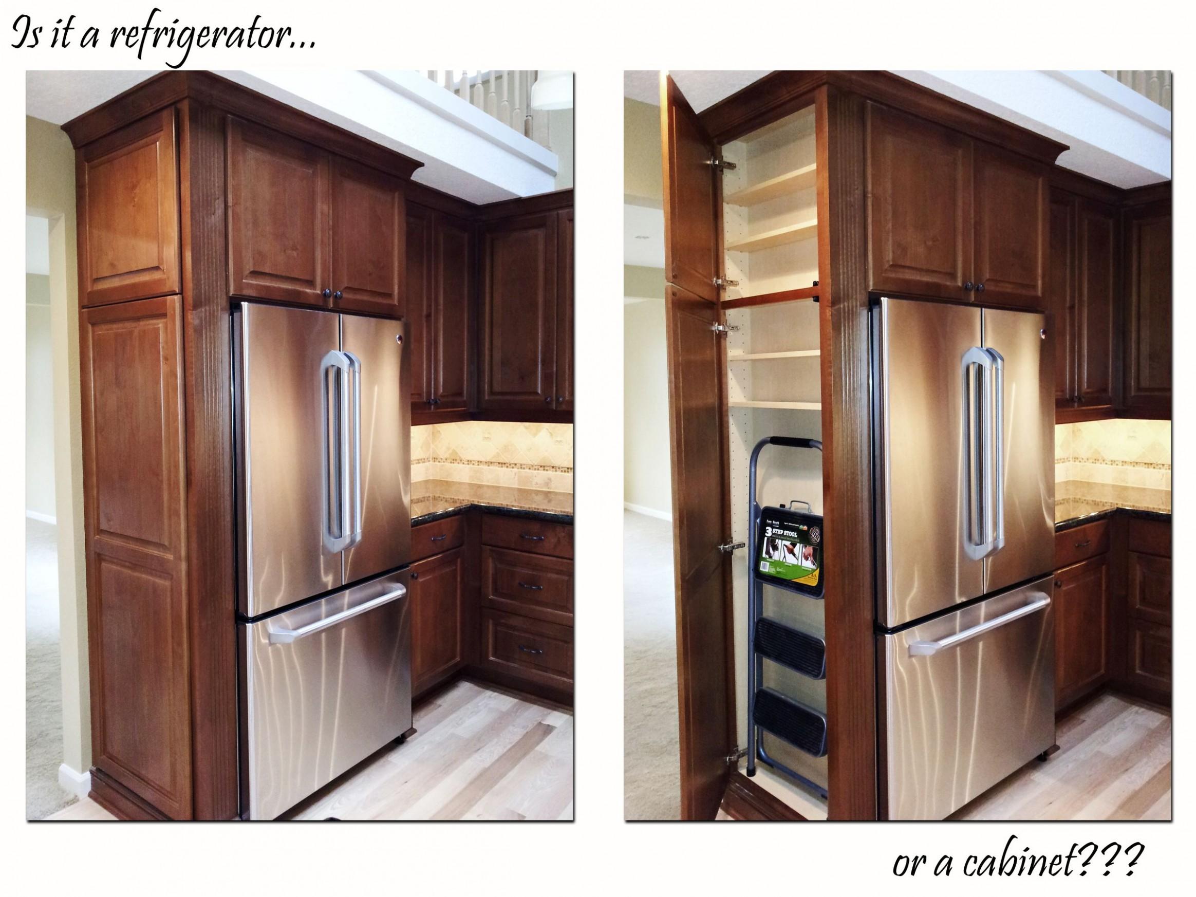 Ridgecrest Homes » Refrigerator Cabinet  Custom kitchen cabinets  - Kitchen Fridge Cabinet