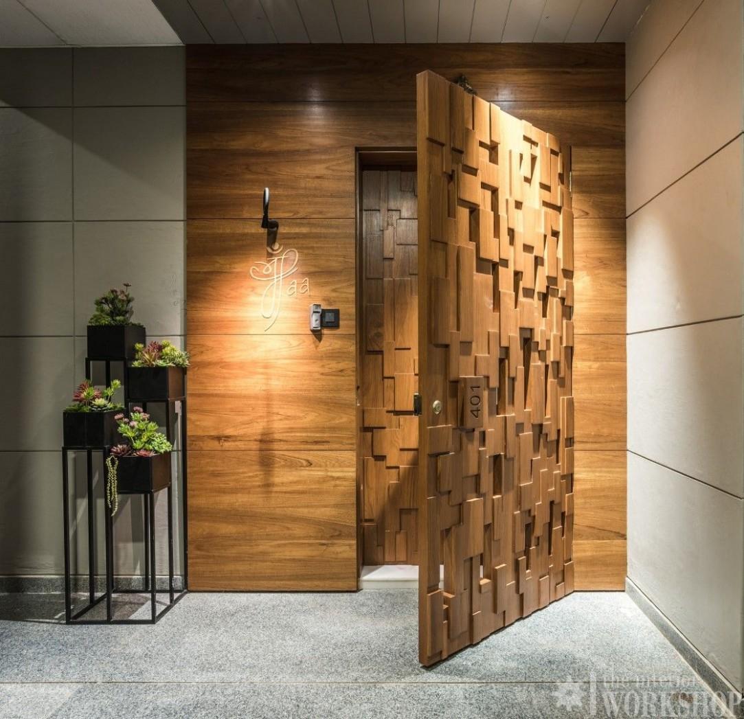 Rustic Minimalist Apartment Interiors  The Interior Workshop  - Apartment Main Door Design